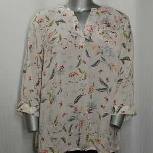 Lucy & Laurel Delicate Pink Floral Blouse, 1X